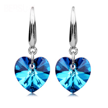 Fashion 925 Sterling Silver Earrings High Grade Blue sapphire Crystal Heart Earring Women Oriharcon Ear Jewelry Nightclubs Party(China (Mainland))