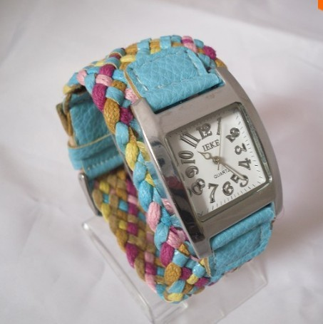 300/lots 7 colorss ladies knit bracelet analog female hours korea wide belt rope and cracked leather women watch(China (Mainland))