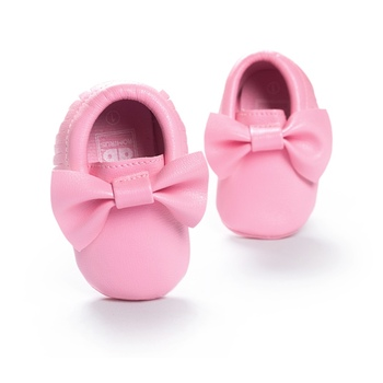 Baby Kids Casual PU Moccasins Prewalker Anti-Slip Walkers Girl Bowknots Shoes