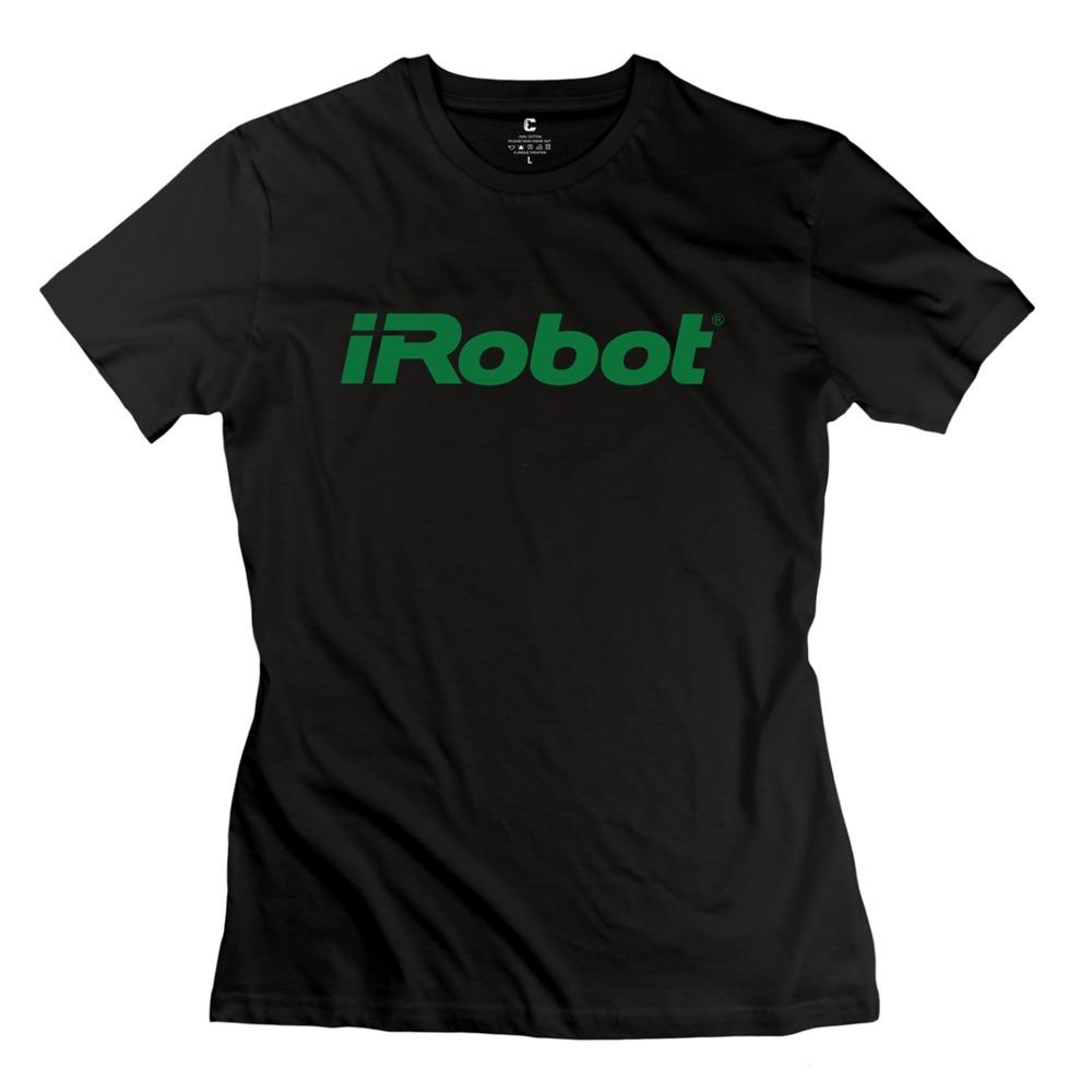 2015 New Style 100% Cotton Irobot Logo Green Women's t-shirt Discount(China (Mainland))