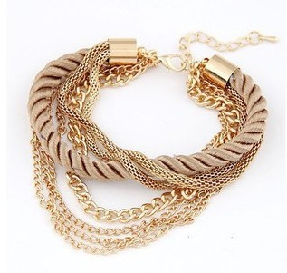 Hot wholesale new style Low key Luxurious Metal Chain Braided rope Multilayer bracelet Anklets for women(China (Mainland))