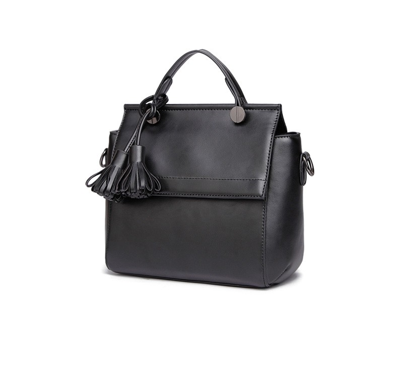 Burnished Leather Handbag Ladies New Fringes Black Grey Pink Hand Bag Designer Tassel Women PU Leather Shoulder Bag