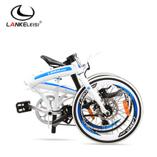 LANKELEISI folding bicycles/ 20″ bmx bike disc brakes foldable bike male and female bicycle