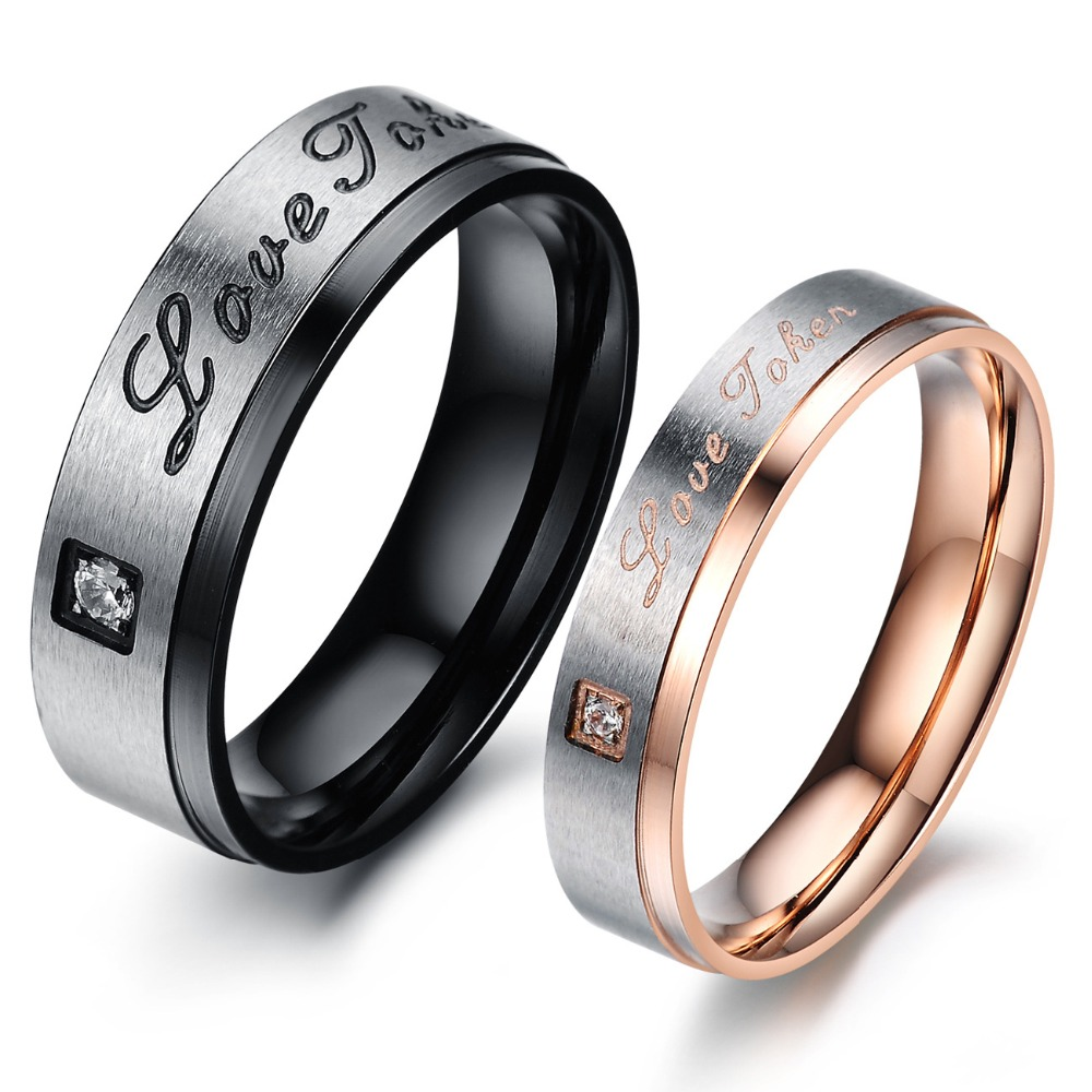 2016 New Top Grade Europe Style Couple Engagement Rings 316L Pure Titanium Steel Woman Man Jewelry Christmas Gift Free Shipping(China (Mainland))