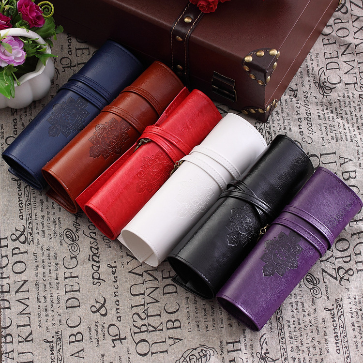 6 Colors Vintage Retro Luxury Roll Leather Make Up Cosmetic Estojo Escolar Pencil Case Pouch Purse Bag for School(China (Mainland))