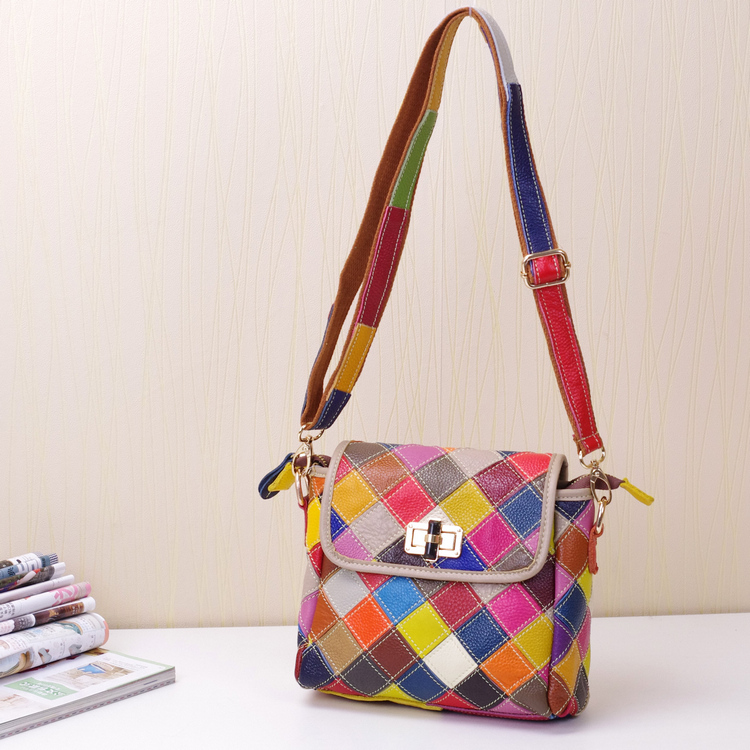 2016 leather bag fashionable casual multi-colored patchwork one shoulder cross-body women's handbag(China (Mainland))