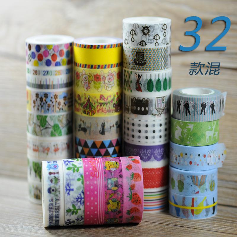 New 32x Kawaii Cute Cartoon Patterns Japanese Washi Tape Scrapbooking Decorative Masking Tape Office Adhesive Tape 10M<br><br>Aliexpress