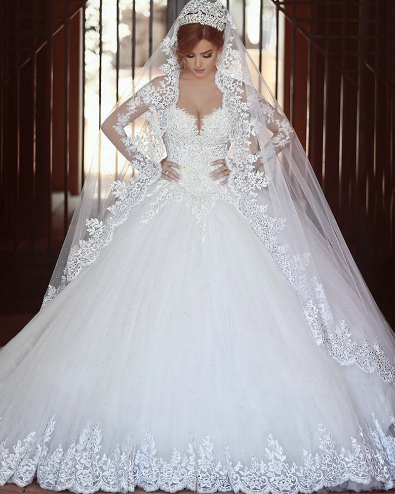 Cathedral royal train wedding dress said mhamad 2016 ball for Lace sleeve wedding dresses