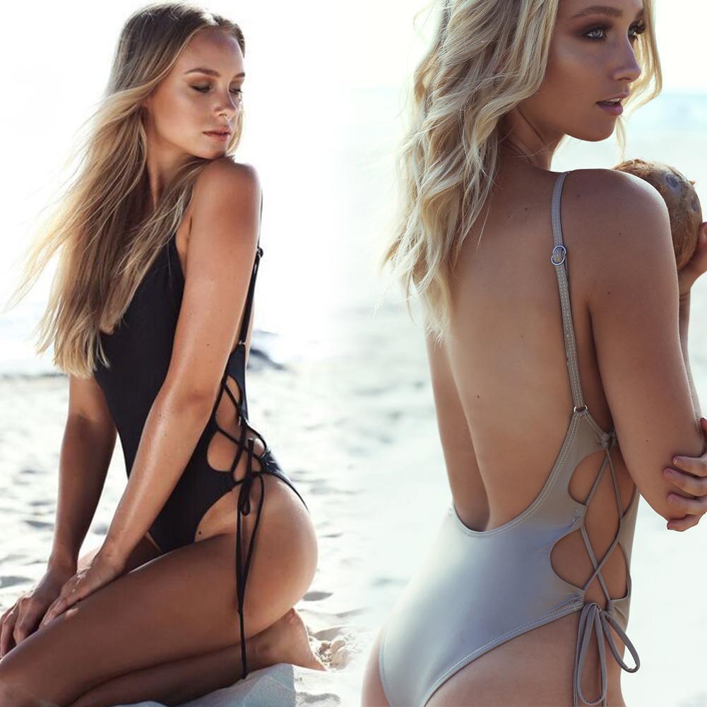 Solid Super Sexy Halter Bikini Summer Beachwear Swimwear Woman Unpadded Bra Backless Waist Adjustable Strap One-piece Swimsuit