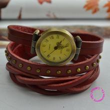 wholesale  price good quality fashion new lady girl woman vintage retro genuine real leather wrap wrist watch hour
