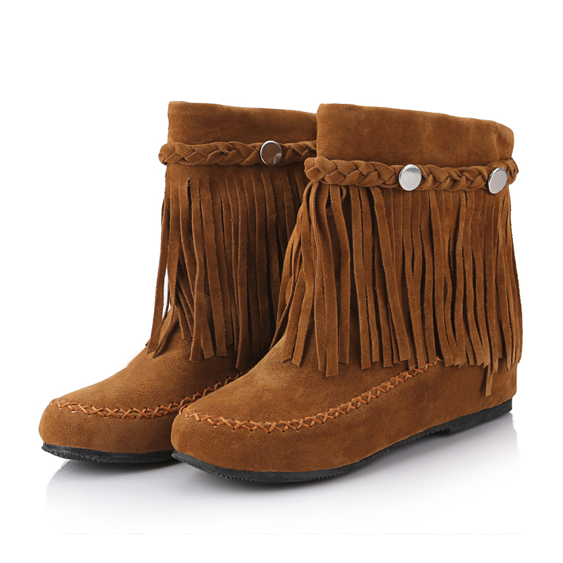 Nubuck leather Black red brown women Ankle Riding botas femininas,new 2015 winter woman fashion rubber sole Tassel flat boots(China (Mainland))