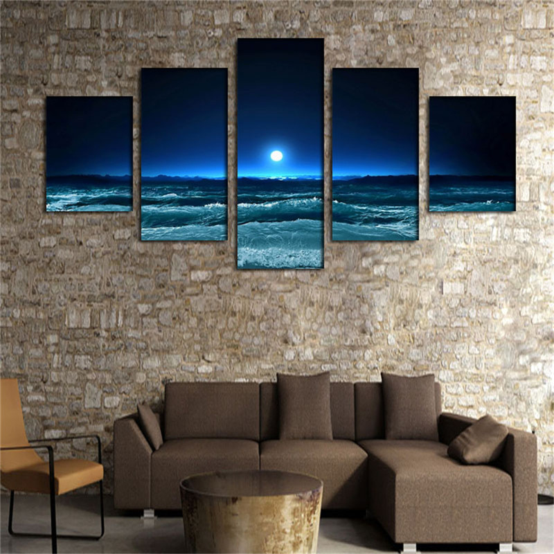 Art Dark Blue Ocean White Sun Modern 5 Panels Giclee Canvas Prints Seascape Artwork Pictures Paintings on Canvas Wall Art