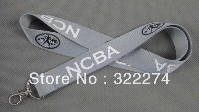 "LOGO Printed custom 1""inch grey neck lanyard with letter words site imprint flat cheap lanyards business promotion strap(China (Mainland))"