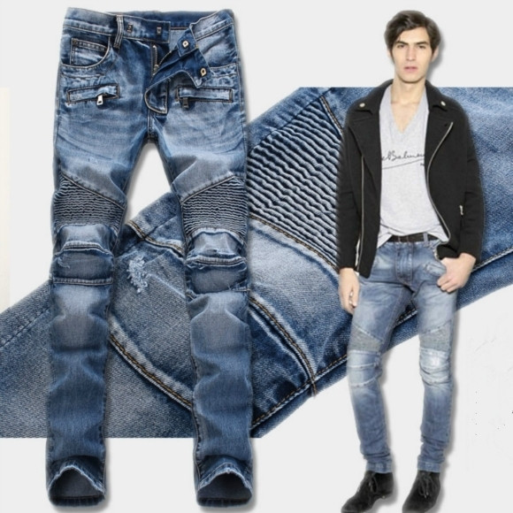 The 2015 runway Biker Jeans stereo clipping folds locomotive heavy Klein Jeans MenОдежда и ак�е��уары<br><br><br>Aliexpress