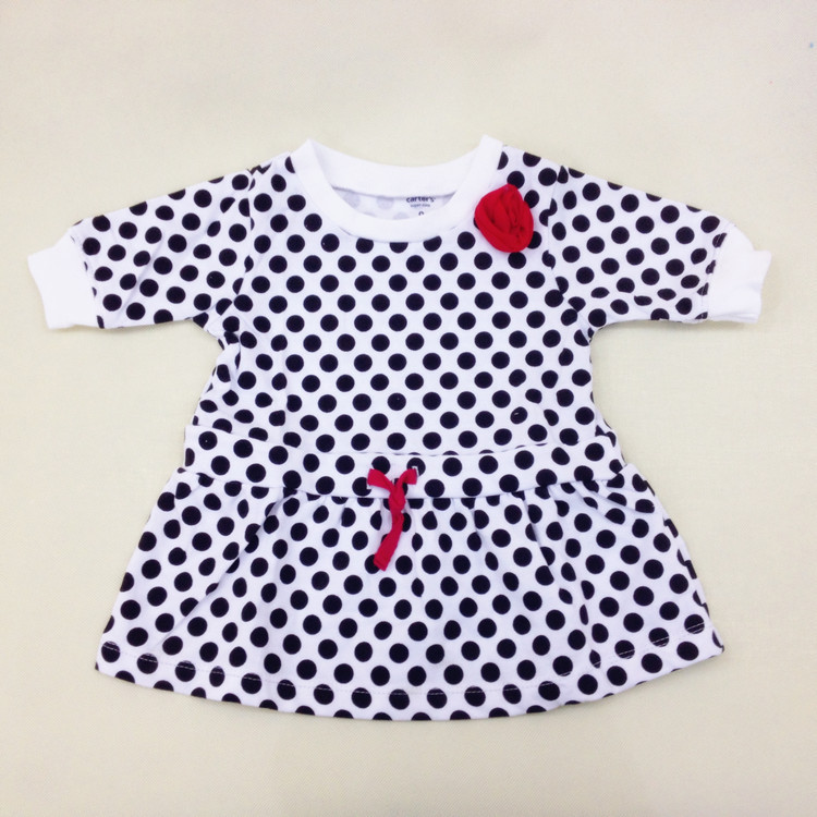Carters 2015 brand baby clothing girls dress 100% cotton vestidos infantis summer black dot half sleeves casual dresses