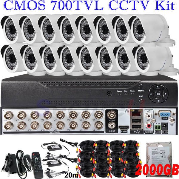 Dropshiping wholesale 16ch cctv DVR kits security surveillance system wide angle hd indoor outdoor camera with 2TB HDD hard disk(China (Mainland))