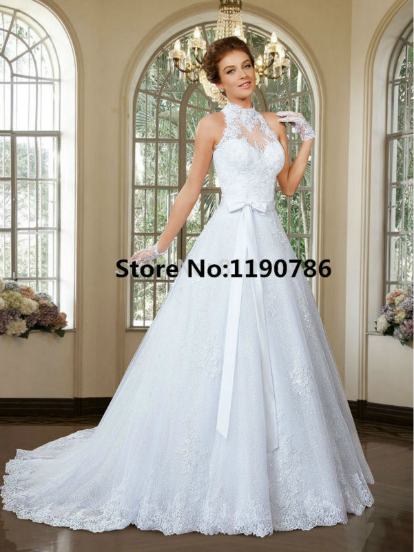 Latest style sheer high neckline wedding gown removable for Removable tulle skirt wedding dress