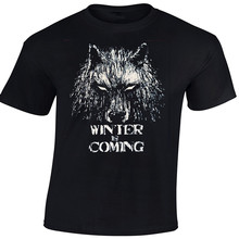 Men's Novelty Fashion Animal T-shirts Game Of Thrones Direwolf Winter Is Coming T-Shirt 100% Cotton Short Sleeve Tee Euro Size