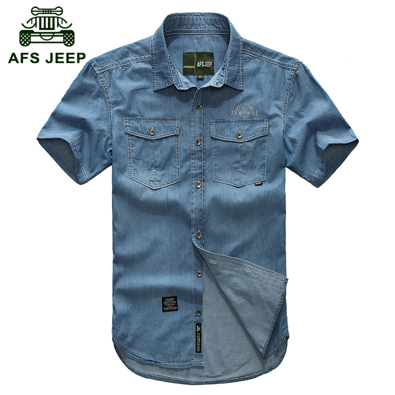 AFS JEEP Plus size M- 5XL 2016 European cowboy style men's cool summer casual brand 100% cotton short shirts man blue shirt 3018(China (Mainland))