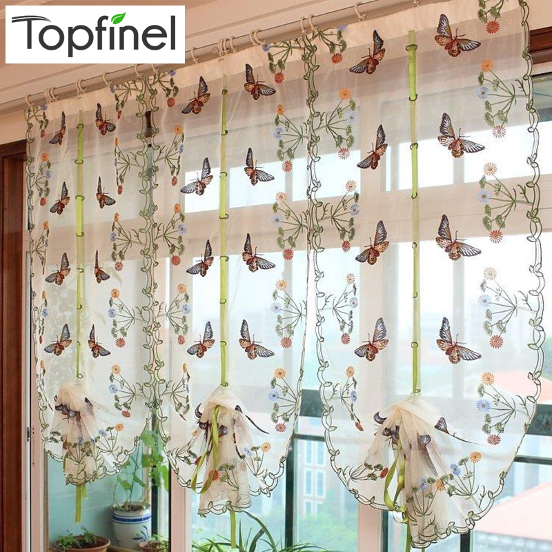 2016 Butterfly Kitchen Curtains Tulle for Windows Sheer Curtains for Living room Bedroom Window Embroidered Roman Curtain Drapes(China (Mainland))