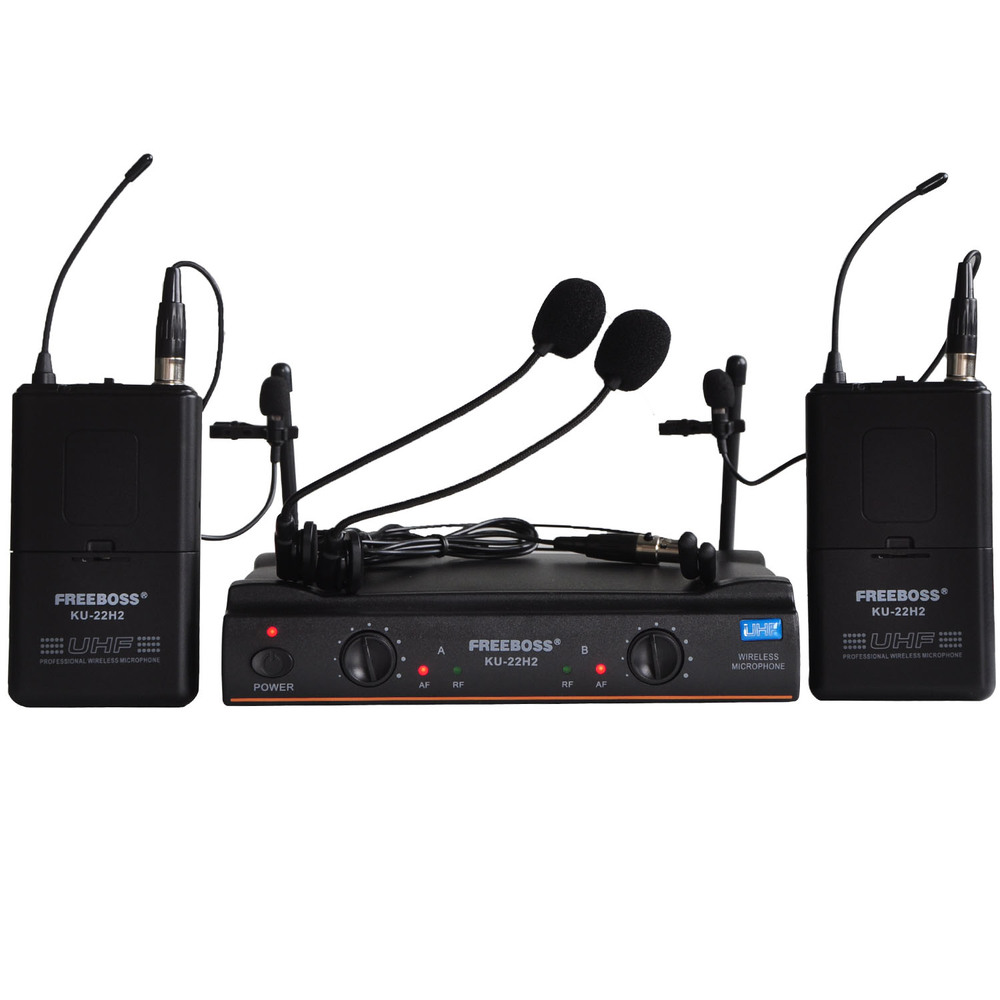 FREEBOSS KU-22H2 UHF Wireless Microphone System DJ Karaoke 2 Lapel 2 Headset microphone (2 Bodypack Transmitter)(China (Mainland))