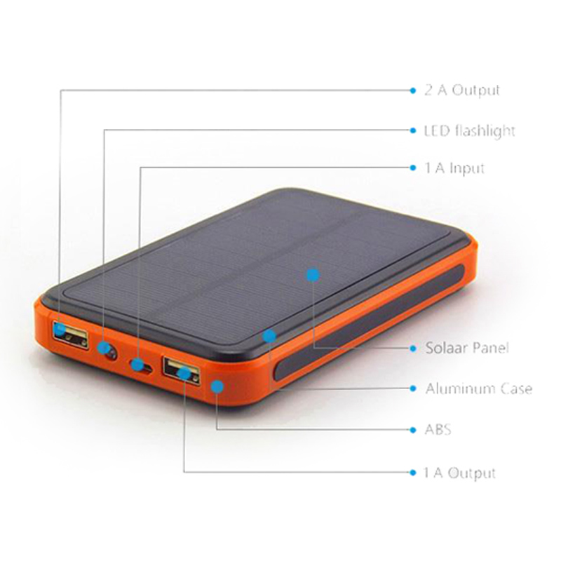 DCAE New Solar Power Bank 10000mAh Dual USB Metal Case Li-Polymer Battery Sun Charger PowerBank for all mobile phone(China (Mainland))
