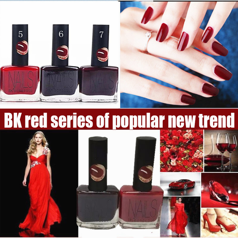 15ml, 7 colors BK brand red Series vanish vernis lacquer nails art redness paint cheap liquid quickly dry nail polish(China (Mainland))