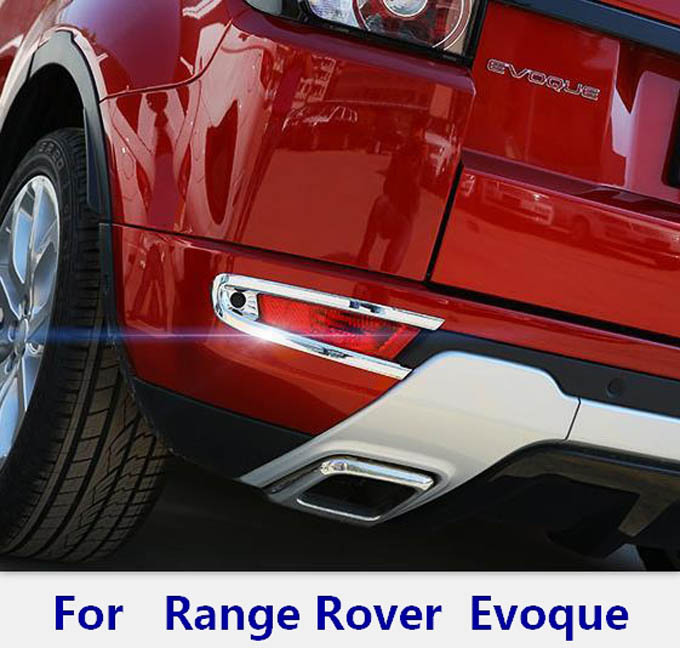 Exterior Chromium Styling Accessories for range Rover evoque end rear tail bumper fog light lamp cover trim sticker frame(China (Mainland))