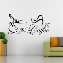 Best Promotion Romantic Design DIY Coffee Cup Heart Beauty Removable Home Kitchen Art Mural Decor Wall Sticker(China (Mainland))