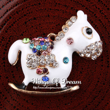 (120pcs/lot) Cute Alloy Crystal Trojans Necklace Charm Lovely Handmade Metal Rhinestone Cartoon Horse Charms For Pendant Jewelry(China (Mainland))