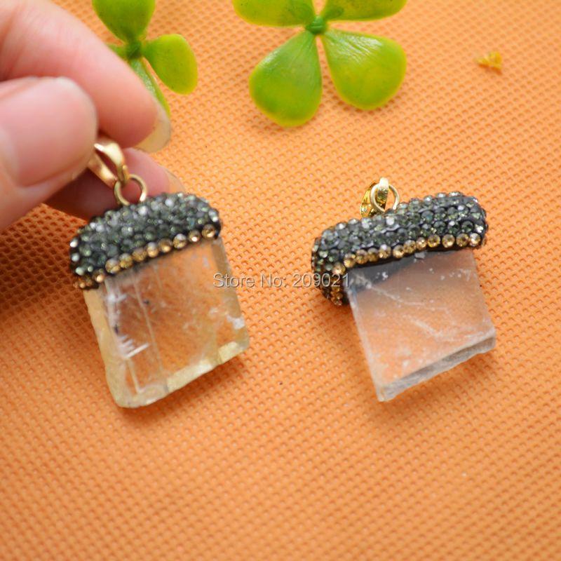 Finding - Natural Druzy Drusy Quartz Stone  Pendant , With Pave Rhinestone Crystal Charms Pendants 8pcs/lot