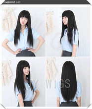 Long Black Straight Wig Cute Fringe Sexy Womens Girls Cosplay Party Hair Full Wigs Long Black Straight Wig(China (Mainland))
