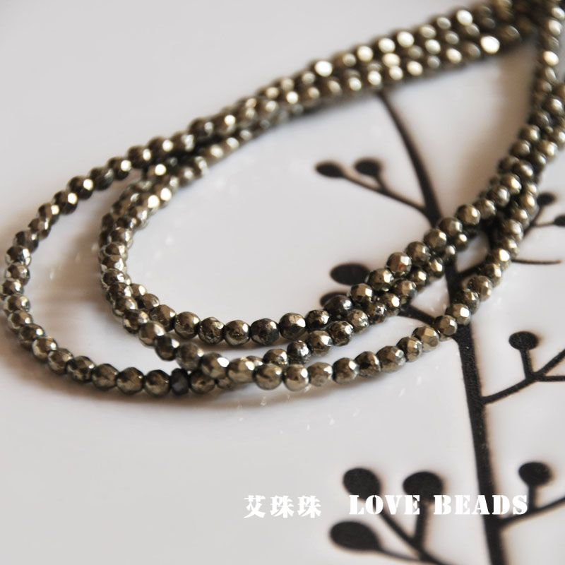 Natural iron pyrite 2mm 3mm 15 38cm faceted seed beads for Natural seeds for jewelry making