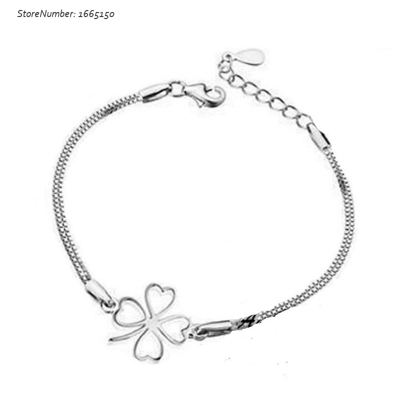 Free Shipping 2015 Cute Clover Bracelet Sterling Silver Female New Fashion Fine Jewelry Bracelets Cheap Wholesale Free Shipping(China (Mainland))