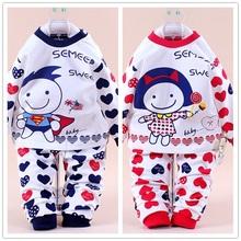 100% Cotton Sweet Girl Superman Spring Autumn Pajama Unisex Baby Sleepwear Kids Long Sleeve Pullover Underwear Free Shipping(China (Mainland))