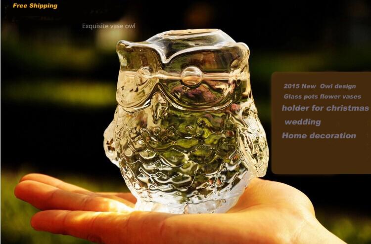 2015 New Arrival Owl design glass pots flower vases terrarium candle holder christmas wedding decorations - 365DAYS SWEET HOME (HOME Artist-Vicky Li store)