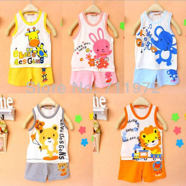 Japan DESIGN HOTSALE 1set Children Vest Suits Boys Girls outfits,pure cotton cartoon baby suit,  15 colors