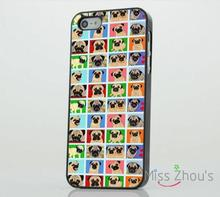 Pug Dog Cute Funny Squares Pattern back skins mobile cellphone cases for iphone 4/4s 5/5s 5c SE 6/6s plus ipod touch 4/5/6