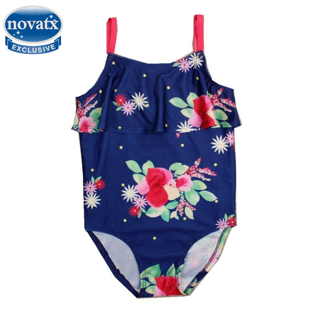 Print Flower Bathing Suit For Children Kids Beach Swimwear Baby Girls Swimming Clothes Child Cute Biquini One Piece Bikini Set(China (Mainland))
