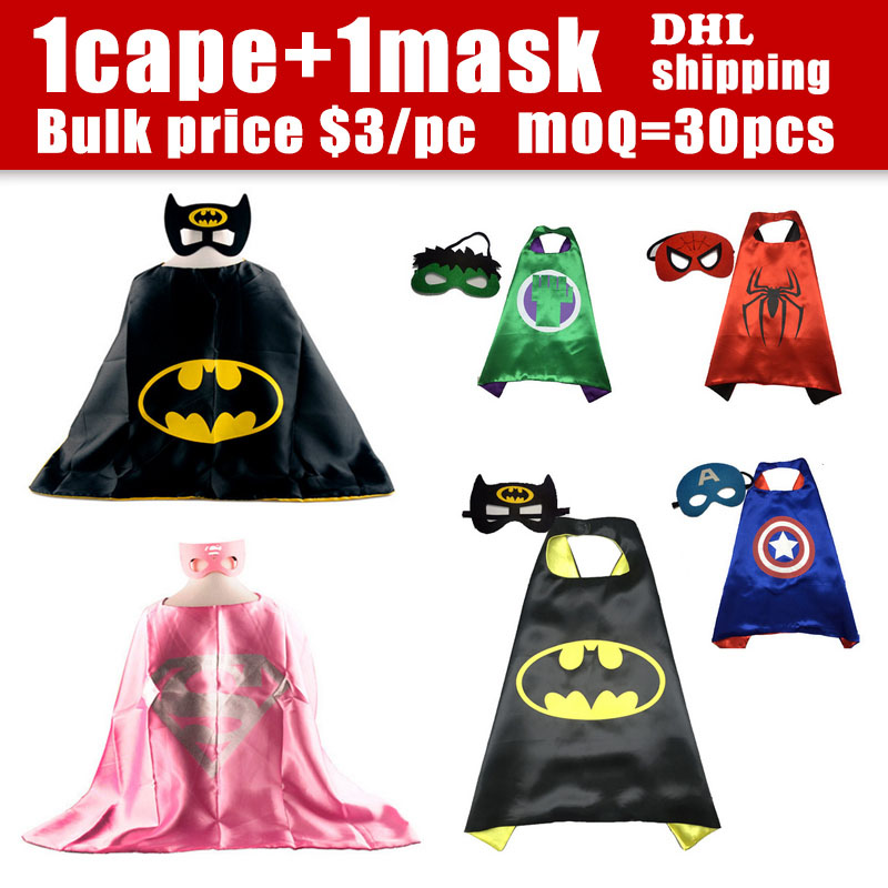 30Sets/lot Superhero Capes and Masks Kid Capes 70 * 70CM Superman Cape Perfect For Kids Party Dress Up Costumes and Gifts(China (Mainland))