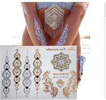 Hot gold tattoo stickers glitter tatoo Inspired Gold Silver Metallic Stickers tattooTemporary Tattoo Flash Tattoos Jewelry