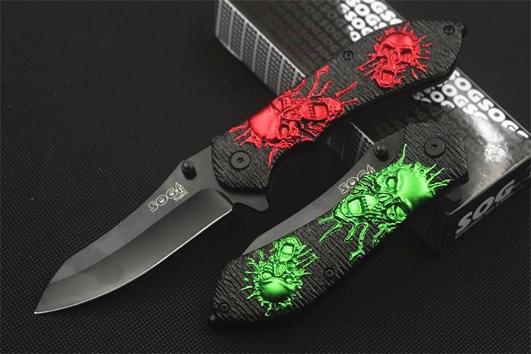 Buy Tactical Survival Folding Knife Skull and Crossbones Embossment Craft  Portable Pocket Outdoor Hand Tools Hunting Jackknife cheap