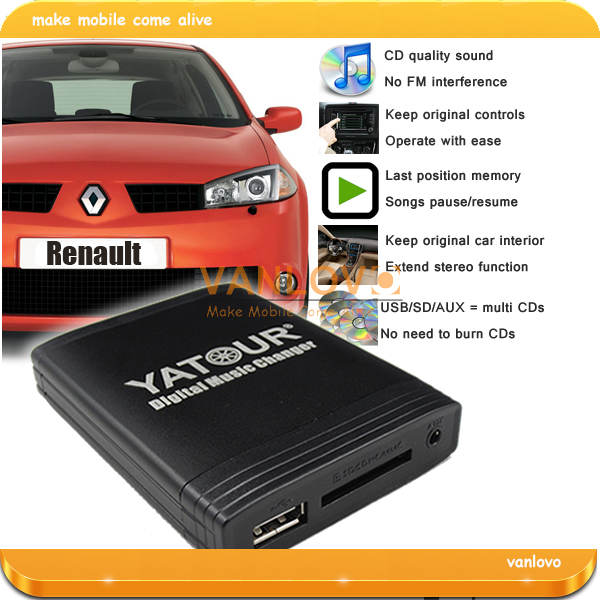 yatour digital music changer aux sd usb mp3 adapter for renault clio twingo laguna megane scenic. Black Bedroom Furniture Sets. Home Design Ideas