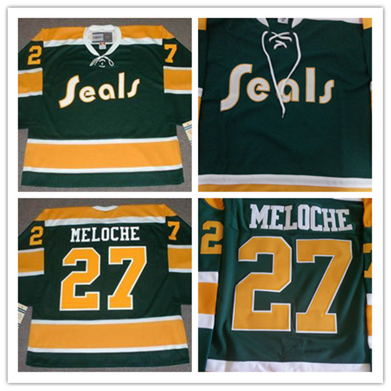 Men's stitched cheap California Golden Seals Jersey Green #27 GILLES MELOCHE 1972 Vintage Throwback Ice Hockey Jersey(China (Mainland))