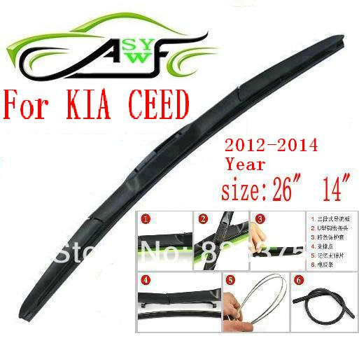 Free shipping car wiper blade for Kia CEED 2012-2014 Size 26 14 Soft Rubber WindShield Wiper Blade 2pcs/PAIR deflector window<br><br>Aliexpress