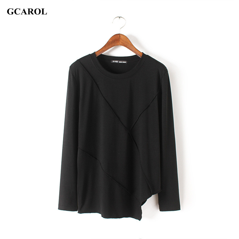 Women New Collection Asymmetric Length Tops Fashion Casual Long Sleeve T-shirt Girls'Summer Spring Thin Tops Plus Size XL(China (Mainland))