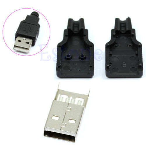 New 10pcs Type A Male USB 4 Pin Plug Socket Connector With Black Plastic Cover(China (Mainland))