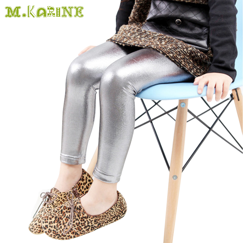 3-10 Year Skinny Black Kids Leather Pants Girls Legging Baby Pants Cool Kid leggins Gold Silver Child Legging Fantasia Infantil(China (Mainland))