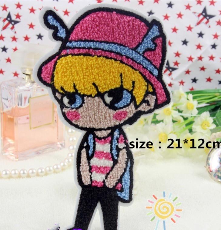 Large Towel fabric patch 5 pcs 21*12cm red Hat Boy Sweater Loose coat patch Motif Applique garment patch DIY accessory(China (Mainland))