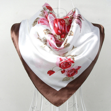 2014 Women Silk Scarf Wraps 90*90cm Coffee Satin Big Square Shawl Female Pink Rose Pattern Spring Autumn - BYSIFA Scarves Store store